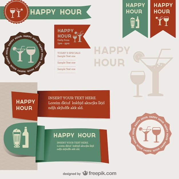 Happy hour labels Free Vector