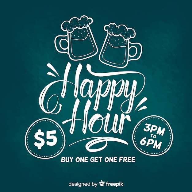 Happy hour lettering banner on chalkboard Free Vector