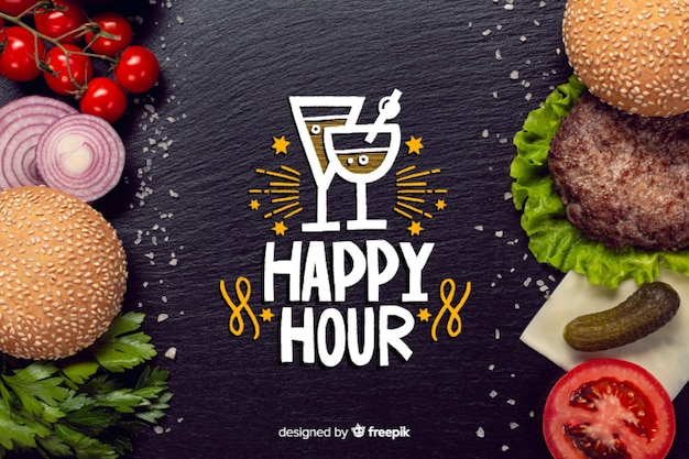 Happy hour lettering on chalkboard Free Vector