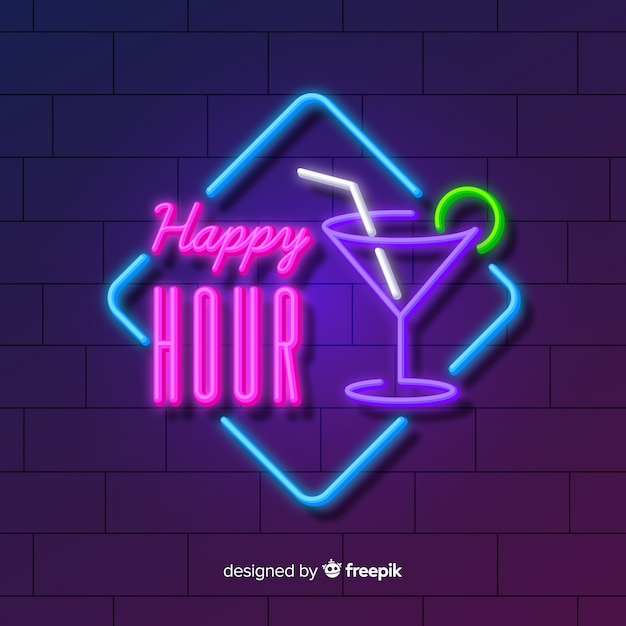 Happy hour neon sign with cocktail Free Vector
