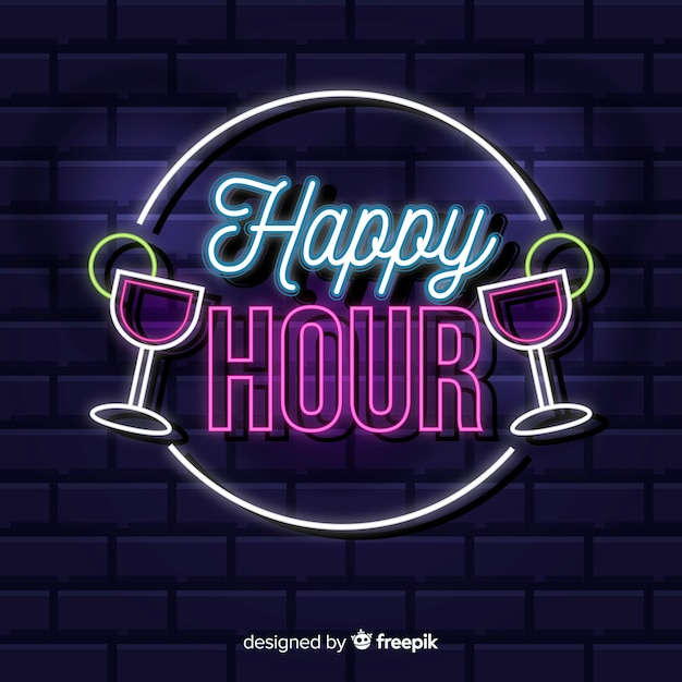 Happy hour neon sign with cocktails | Free Vector