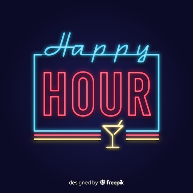 Happy hour neon sign with glass cup Vector | Free Download