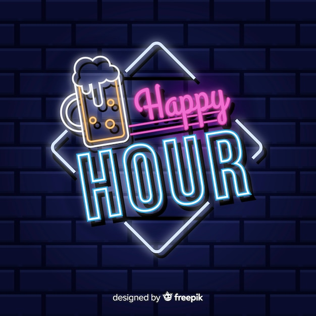 Happy hour neon sign Free Vector