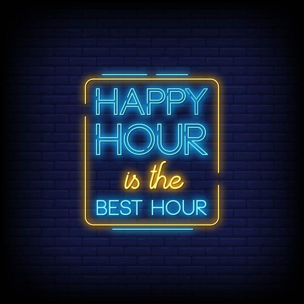 Happy hour neon signs text style Premium Vector