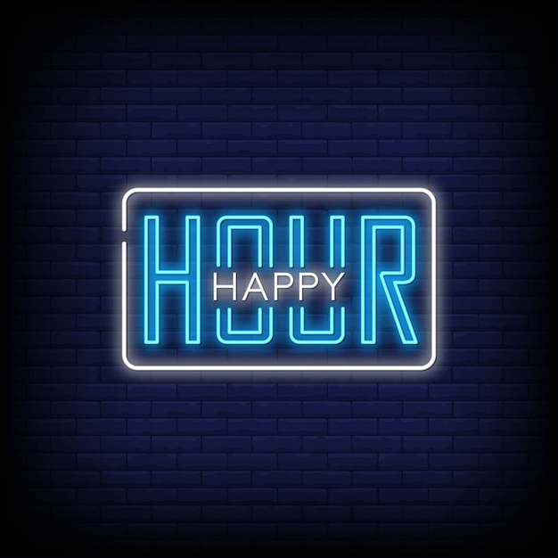 Happy hour neon signs text style Premium Vector