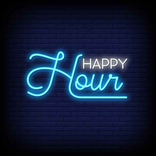 Happy hour neon signs Premium Vector