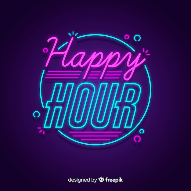 Free Vector | Happy hour offer with neon sign