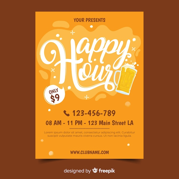 Happy hour poster template Free Vector