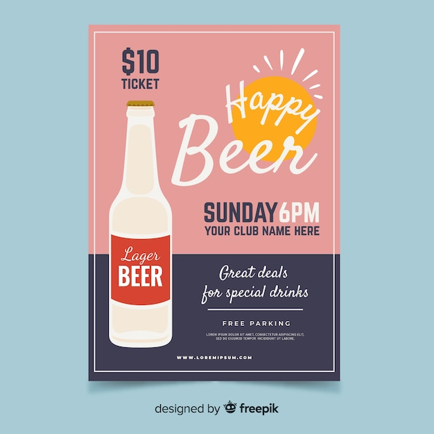 Happy hour poster with beer bottle Free Vector