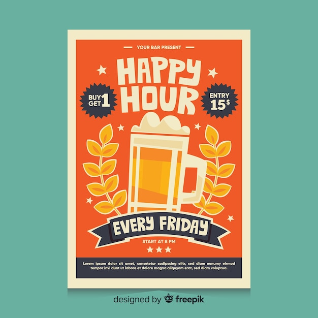 Happy hour poster with beer in a mug Free Vector