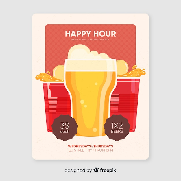 Happy hour poster with beer pong championship Premium Vector