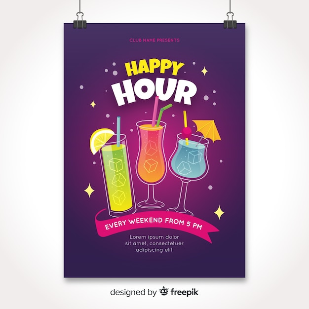 Happy hour poster with cocktails Free Vector