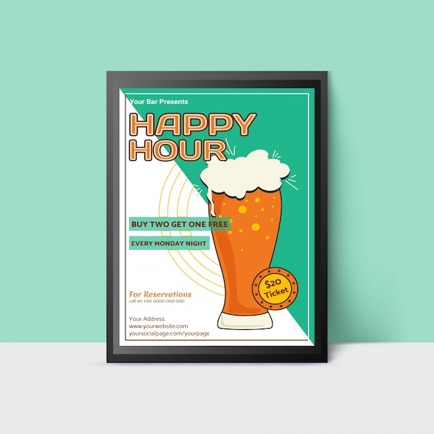 Happy hour template with beer glass for web, poster, flyer, invitation to party in green colors. vintage style. Premium Vector