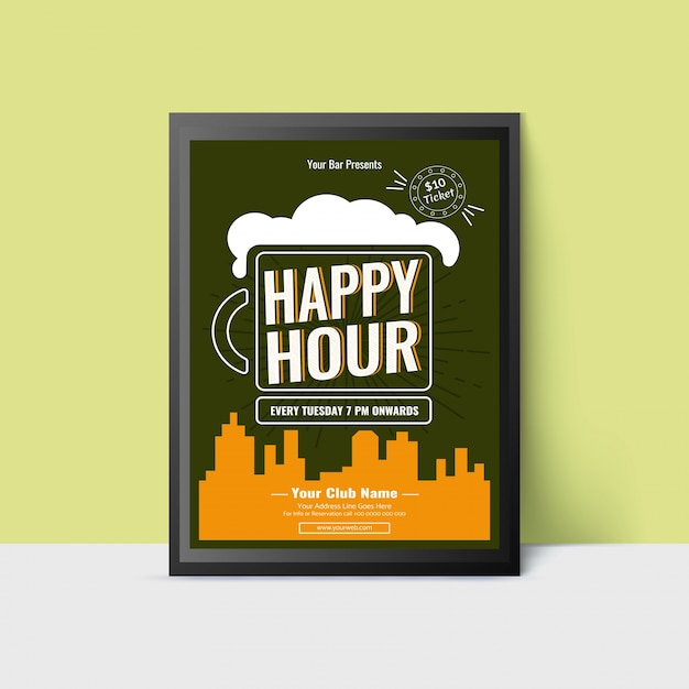 Happy Hour Template With Beer Mug For Web Poster Flyer