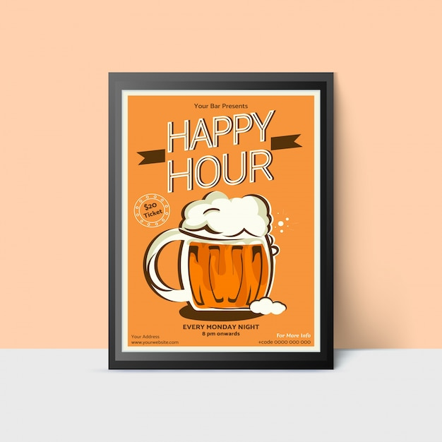 Happy hour template with beer mug for web, poster, flyer, invitation to party in yellow colors. vintage style. Premium Vector