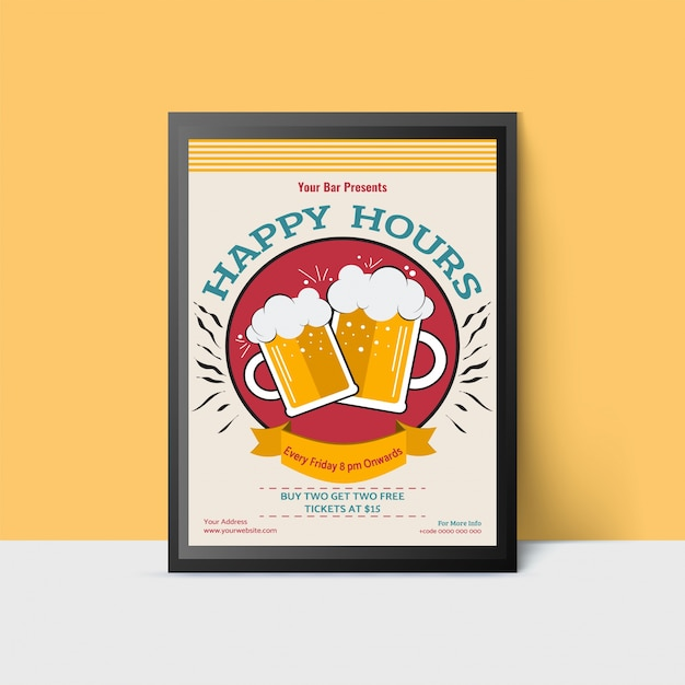 Happy hour template with beer mugs for web, poster, flyer, invitation to party. vintage style. Premium Vector