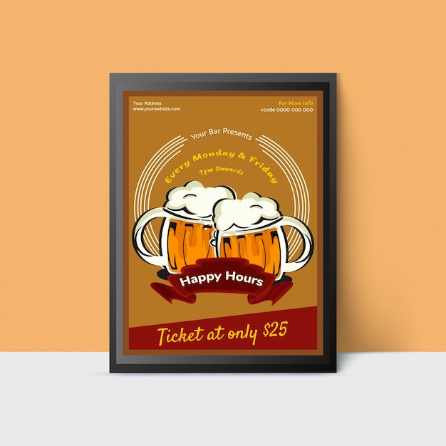 Happy hour template with beer mugs for web, poster, flyer, invitation to party in yellow colors. vintage style. Premium Vector