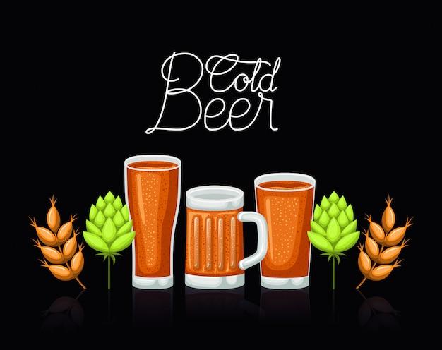 Этикетка пива happy hour с бокалами и банкой Premium векторы