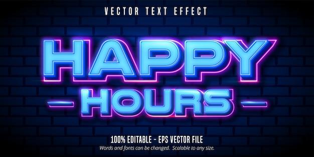 Счастливые часы текст, неоновый стиль редактируемый текстовый эффект Premium векторы