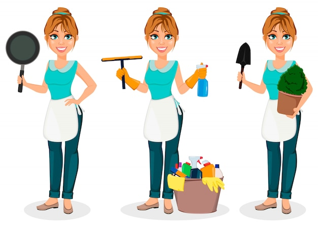 Happy housewife. cheerful mother Premium Vector