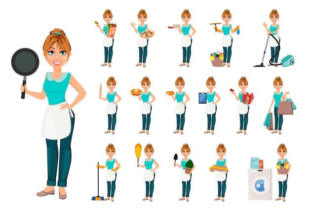 Счастливая домохозяйка, набор из семнадцати поз Premium векторы