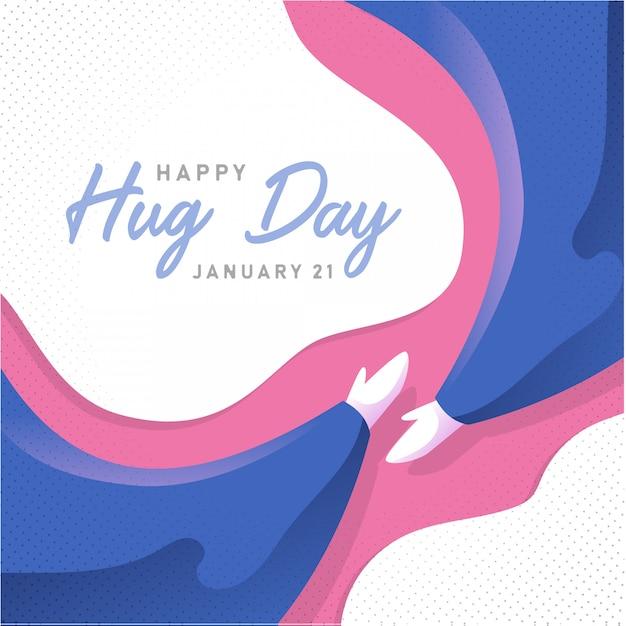 Happy hug day background paper art Premium Vector