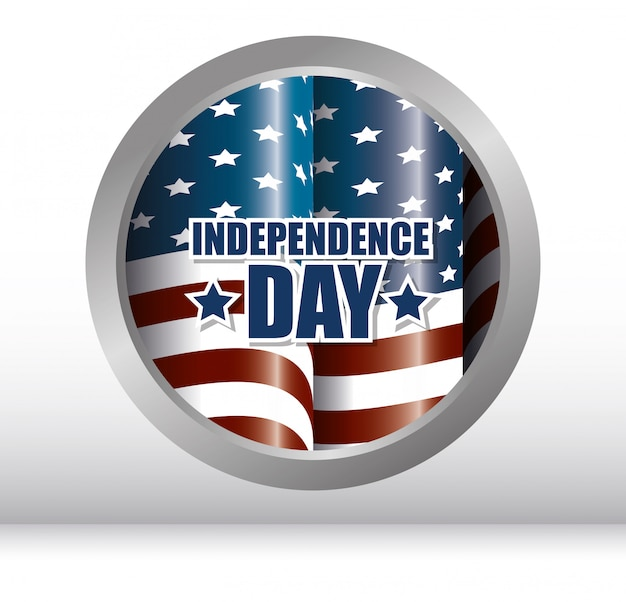 Happy independence day, 4th july celebration in united states of america Free Vector