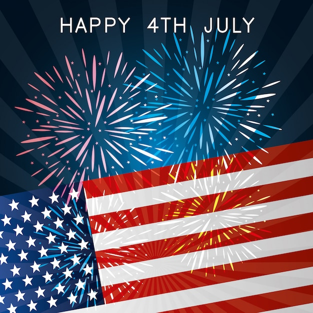 Happy independence day 4th july usa celebration Free Vector