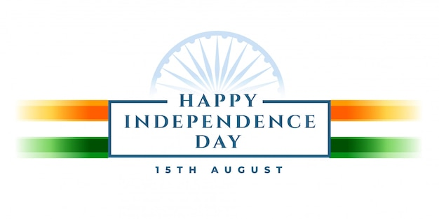 Happy independence day banner with indian flag Free Vector