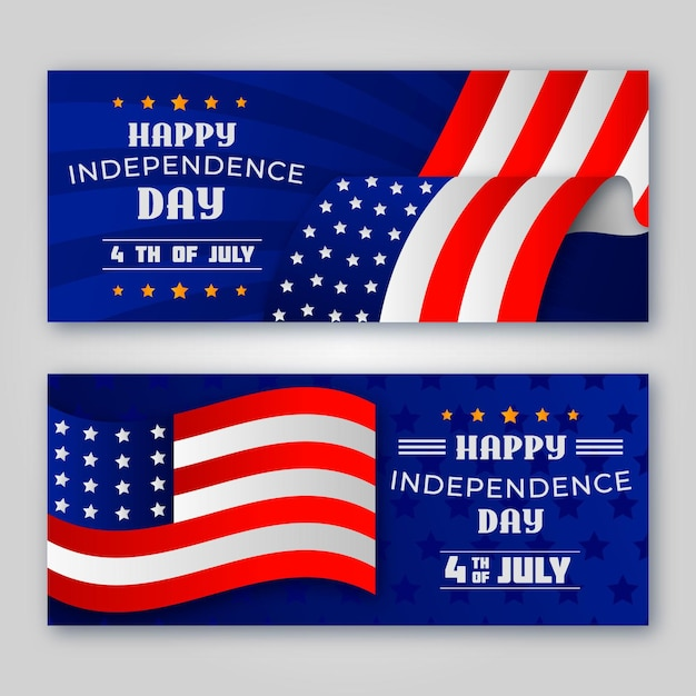 Happy independence day banners with flags Free Vector