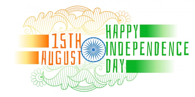 Happy independence day of india decorative Free Vector