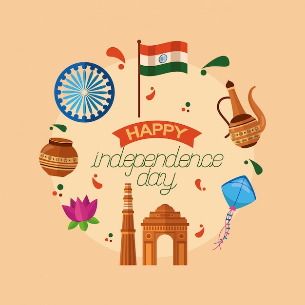 Happy independence day in india in flat style Free Vector