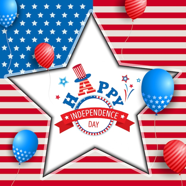 Happy independence day star frame Premium Vector