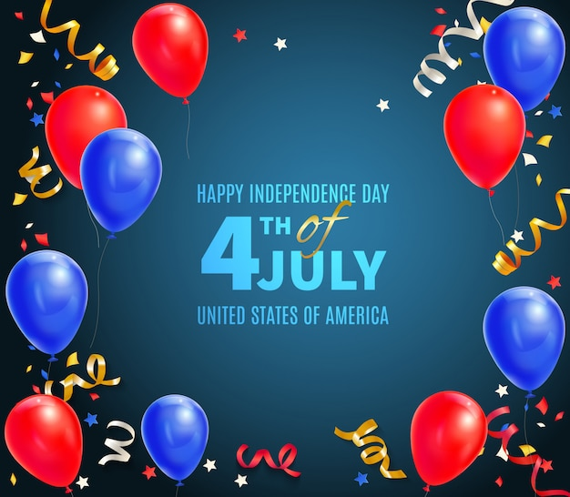 Happy independence day of usa greeting card with holiday date 4th of july and festive symbols realistic illustration Free Vector