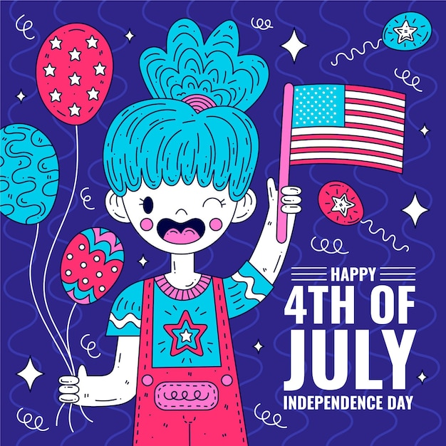 Happy independence day with woman and flag Premium Vector