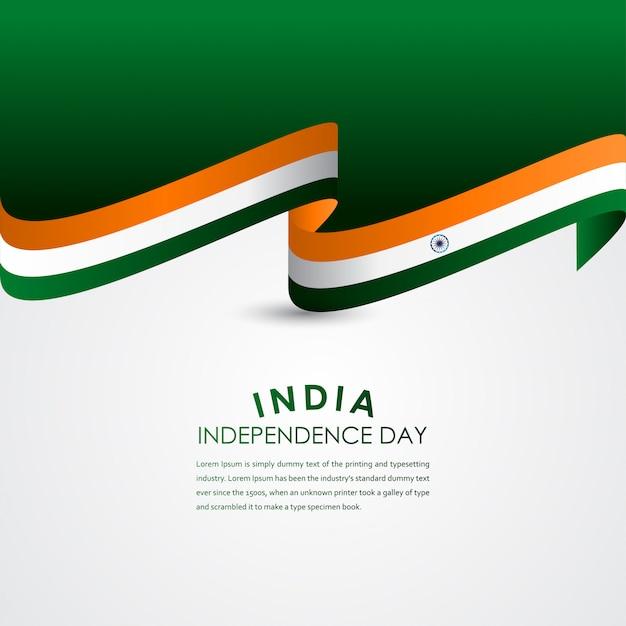 Счастливый день независимости индии празднование вектор шаблон дизайна иллюстрация Premium векторы