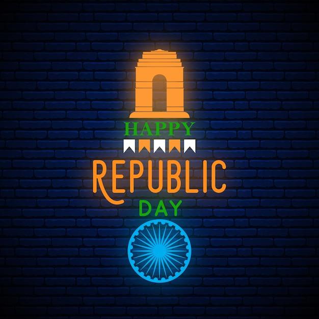 Happy india republic day neon banner. Premium Vector
