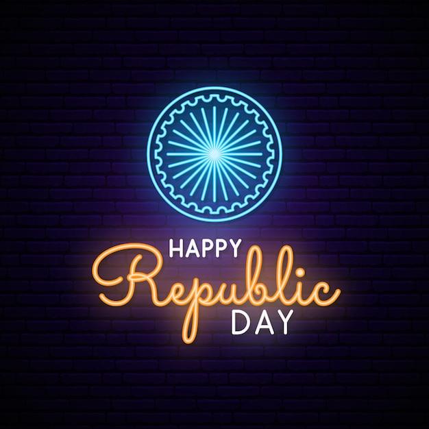 Happy india republic day neon design. Premium Vector