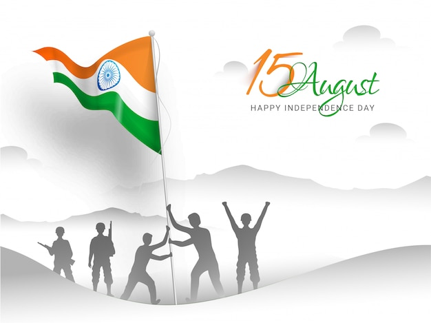 Happy indian independence day. indian army soldier doing flag hoisting on top of mountain Premium Vector
