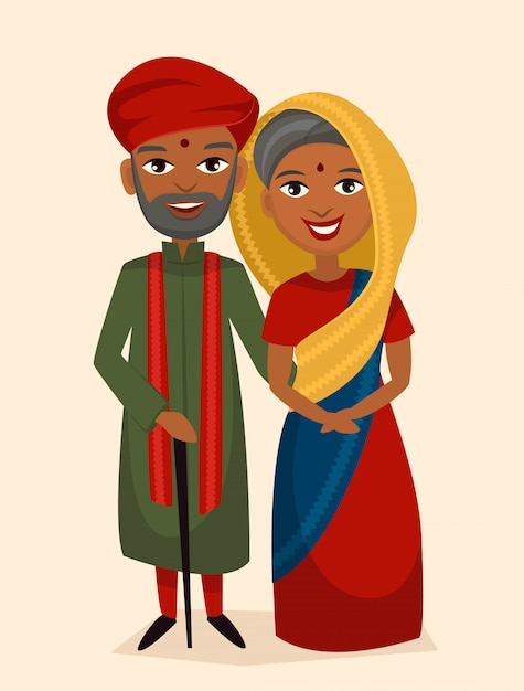 Happy indian middle aged couple isolated Premium Vector