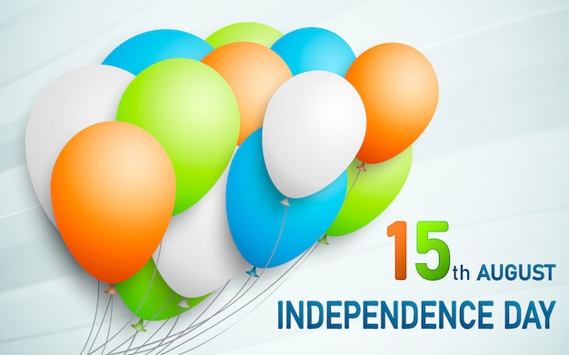 Happy indian republic day background with balloons in traditional tricolor of indian flag Premium Vector