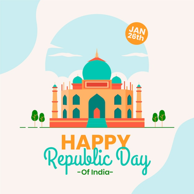 Happy indian republic day in flat design Free Vector