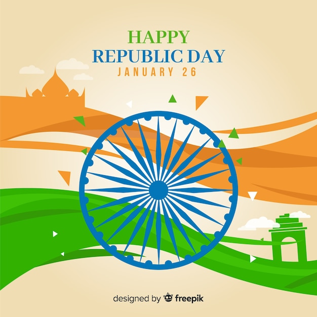 Happy indian republic day Free Vector