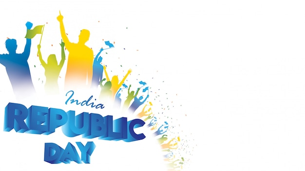 Happy indian republic day Premium Vector
