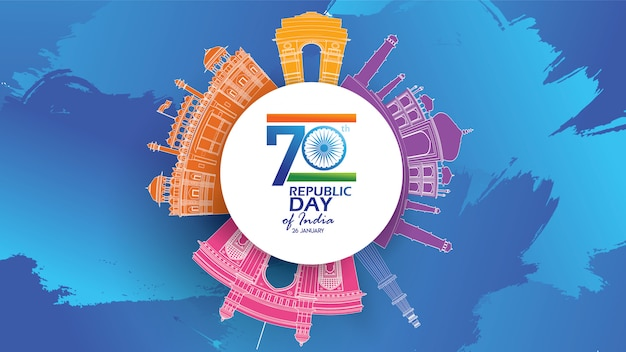 Happy indian republic day Premium Vector