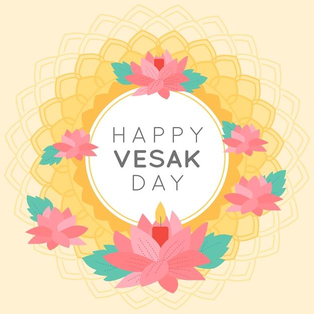 Happy indian vesak day wreath of flowers Free Vector