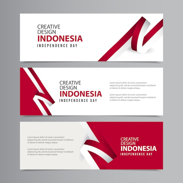 Happy indonesia independence day celebration creative   template Premium Vector