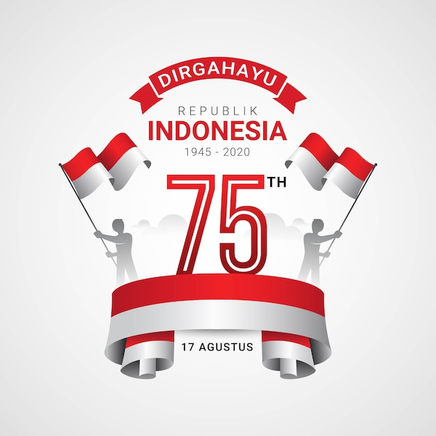 Happy indonesia independence day greeting card Premium Vector