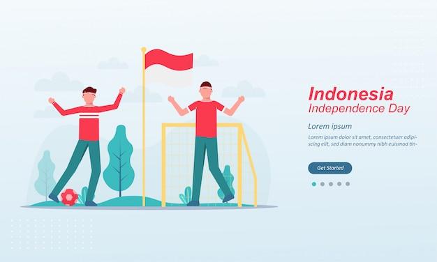幸せなインドネシア独立記念日ランディングページテンプレート Premiumベクター