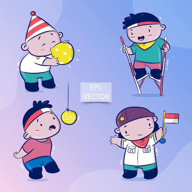 Happy indonesia independence day set, traditional game on august, eat crackers, blow balloons, stilts racing Premium Vector